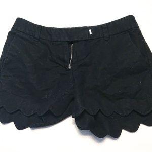 J. Crew Black Scalloped Shorts